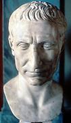 Julius Caesar (c100-44 BC) Roman soldier and statesman. Marble bust of 50 BC. Vatican Museum, Rome