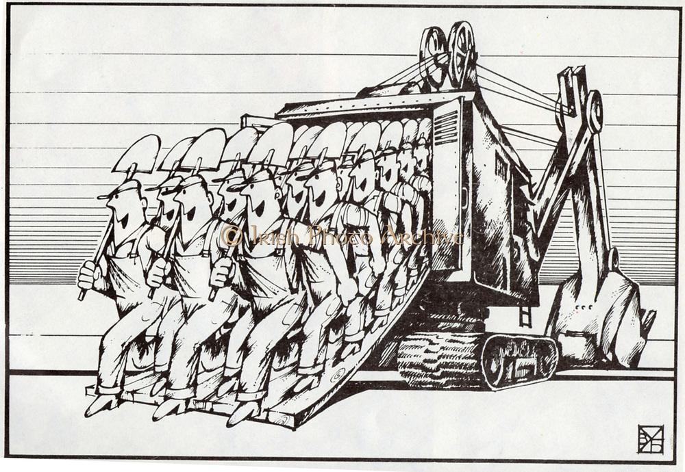 Soviet Russian cartoon satire on the state of industry under Leonid Brezhnev. 1970's