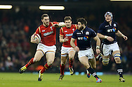 George North of Wales (l) makes a break. RBS Six nations championship 2016, Wales v Scotland at the Principality Stadium in Cardiff, South Wales on Saturday 13th February 2016. <br /> pic by  Andrew Orchard, Andrew Orchard sports photography.