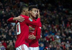 Marcus Rashford of Manchester United (L) celebrates scoring his sides first goal - Mandatory by-line: Jack Phillips/JMP - 18/12/2019 - FOOTBALL - Old Trafford - Manchester, England - Manchester United v Colchester United - English League Cup Quarter Final