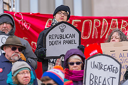 March 11, 2017 - Brooklyn, NY, United States - Activists gathered near Brooklyn Borough Hall  where the staged a rally and symbolic ''die-in'' in opposition to the repeal of the Affordable Care Act (ACA) and its replacement by Republican-authored legislation currently under proposal in the US House of Representatives. (Credit Image: © Albin Lohr-Jones/Pacific Press via ZUMA Wire)