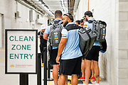 Players wait to enter the Clean Zone.<br /> 2020 NRL Round 04 - North Queensland Cowboys v Cronulla-Sutherland Sharks, Queensland Country Bank Stadium, 2020-06-06. Digital image by Michael Chambers � NRL Photos