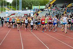 Sheffield Half Marathon Start runners head for the Race exitSunday Morning..12 May 2013.Image © Paul David Drabble