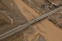 Aghganistan's Highway One, west of Kandahar City, as seen from a Black Hawk helicopter after heavy rainfall.