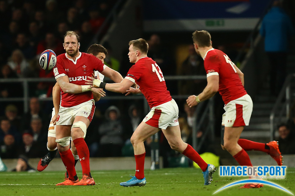 Alun Wyn Jones of Wales throws a pass to Nick Tompkins of Wales  during the Guinness Six Nations between England and Wales at Twickenham Stadium, Saturday, March 7, 2020, in London, United Kingdom. (Mitchell Gunn-ESPA-Images/Image of Sport)
