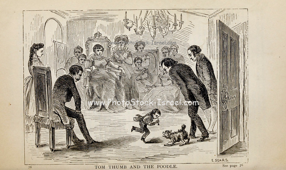 TOM THUMB AND THE POODLE From the autobiographical Book ' Struggles and triumphs; or, Forty years' recollections of P.T. Barnum ' By Barnum, P. T. (Phineas Taylor), 1810-1891 Published by <br /> The Courier Company Buffalo, N.Y. in 1879. Phineas Taylor Barnum (July 5, 1810 – April 7, 1891) was an American showman, politician, and businessman, remembered for promoting celebrated hoaxes and for founding the Barnum & Bailey Circus (1871–2017). He was also an author, publisher, and philanthropist,