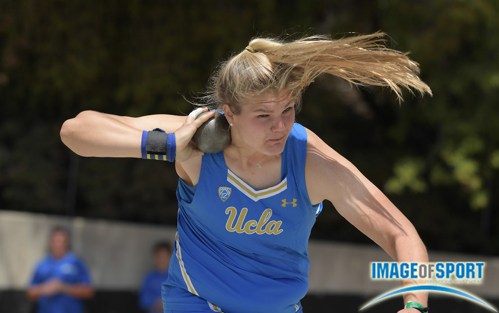 Alyssa Wilson e of UCLA places second in the women's shot put at 55-8 1/4 (16.97m)  during a collegiate dual meet against Southern California at Drake Stadium in Los Angeles, Sunday, April 29, 2018.