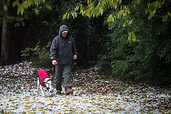 © Licensed to London News Pictures . 09/11/2013 . Manchester , UK . A man and his dog walk carefully through ground covered in freshly fallen hail stones in Lightoaks Park in Salford . A freak hail storm in Manchester covers the streets with large hailstones as loud rolling thunder is heard . Photo credit : Joel Goodman/LNP