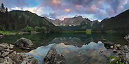 The upper lake of Fusine Valromana with Mount Mangart in the background. Taken about 15 minutes after sunset, this is stitched from seven vertical takes.