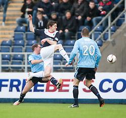 Falkirk's Blair Alston has a shot.<br /> Falkirk 2 v 0 Dundee, Scottish Championship game at The Falkirk Stadium.<br /> © Michael Schofield.
