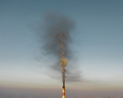 Smokestacks from one of the coal-fired power plant located in the city.<br /> Mongolia