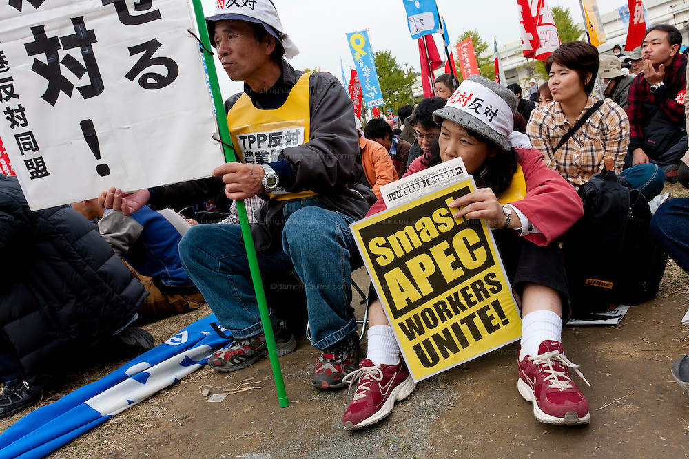 Anti APEC (Asia Pacific Economic Conference)  Demo by left-wing activist groups and trade unions in Yokohama, Japan Sunday, November 14th 2010