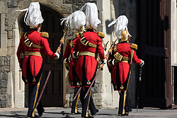 Windsor, UK. 17th April, 2021. Members of the armed forces arrive at Windsor Castle to take part in the funeral of the Duke of Edinburgh. The funeral of Prince Philip, Queen Elizabeth II's husband, is taking place at St George's Chapel in Windsor Castle, with the ceremony restricted to 30 mourners in accordance with current coronavirus restrictions.