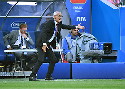 SAINT PETERSBURG, June 19, 2018  Head coach Hector Cuper of Egypt reacts during a Group A match between Russia and Egypt at the 2018 FIFA World Cup in Saint Petersburg, Russia, June 19, 2018. (Credit Image: © Li Ga/Xinhua via ZUMA Wire)