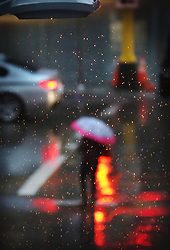 April 26, 2017 - Minneapolis, MN, USA - United States - A street light illuminates steady rain falling Wednesday, April 26, 2017, in downtown Minneapolis, MN.]....DAVID JOLES • david.joles@startribune.com....Steady, cold rain Wednesday (Credit Image: © David Joles/Minneapolis Star Tribune via ZUMA Wire)