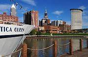Cleveland, Ohio skyline with Nautica Queen.