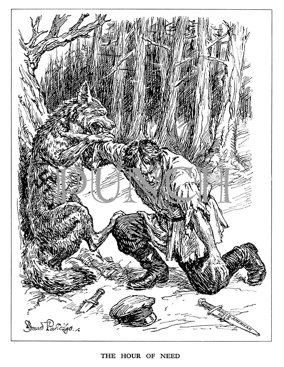 The Hour of Need. (A Russian partisan reaches out for the dagger of Anglo-American Help as he tries to keep the Nazi wolf at bay)