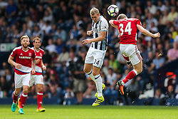 Darren Fletcher of West Bromwich Albion and Adam Forshaw of Middlesbrough compete in the air - Rogan Thomson/JMP - 28/08/2016 - FOOTBALL - The Hawthornes - West Bromwich, England - West Bromwich Albion v Middlesbrough - Premier League.