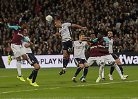 Football - 2017 / 2018 EFL (League) Cup - Third Round: West Ham United vs. Bolton Wanderers<br /> <br /> Darren Pratley (Bolton Wanderers) clears from another West Ham cross at the London Stadium.<br /> <br /> <br /> COLORSPORT/DANIEL BEARHAM