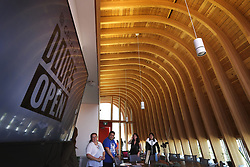May 26, 2019 - Toronto, ON, Canada - TORONTO, ON - May 26     Hundreds toured the space under the cedar ceiling designed to look like a canoe with 28 ribs for the 28 days in the traditional calendar..The Odeyto Indigenous space at Seneca College in the Finch and Don Mills area opened in September 2018.  The space is a student centre for indigenous students with traditional ceremonies, food, computer labs and different types of counselling..More than 150 buildings across Toronto open their doors over the May 25 – 26 weekend for the 20th annual Doors Open Toronto festival.  Buildings and spaces that are normally closed to the public held tours, lectures and events across the city..May 26, 2019 Richard Lautens/Toronto Star (Credit Image: © Richard Lautens/The Toronto Star via ZUMA Wire)
