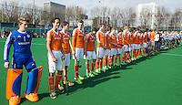 ROTTERDAM -   line up. . Practice Match  Hockey : Netherlands Boys U16  v England U16 . COPYRIGHT KOEN SUYK