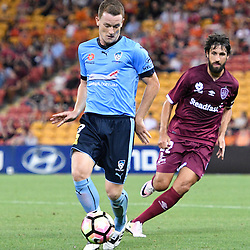 BRISBANE, AUSTRALIA - NOVEMBER 19: Brandon O'Neill of Sydney dribbles the ball during the round 7 Hyundai A-League match between the Brisbane Roar and Sydney FC at Suncorp Stadium on November 19, 2016 in Brisbane, Australia. (Photo by Patrick Kearney/Brisbane Roar)