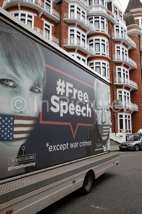 Billboard depicting the words Free Speech and a gagged Chelsea Manning, the American activist and whistleblower, and Wikileaks founder Julian Assange outside the Ecuadorian Embassy on 5th April 2019 in London, England, United Kingdom. Their presence comes as Wikileaks has announced that their founder Julian Assange may be expelled from the Embassy within hours or days.