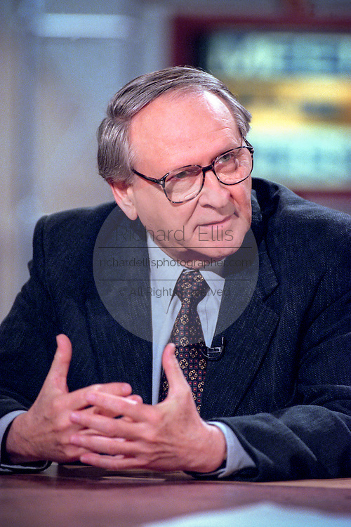 Columnist William Safire discusses the upcoming impeachment hearings against President Clinton during NBC's Meet the Press October 11, 1998 in Washington, DC.
