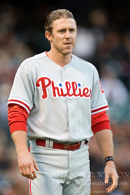 April 27, 2010; San Francisco, CA, USA;  Philadelphia Phillies second baseman Chase Utley (26) reacts after striking out against the San Francisco Giants during the first inning at AT&T Park. San Francisco defeated Philadelphia 6-2.
