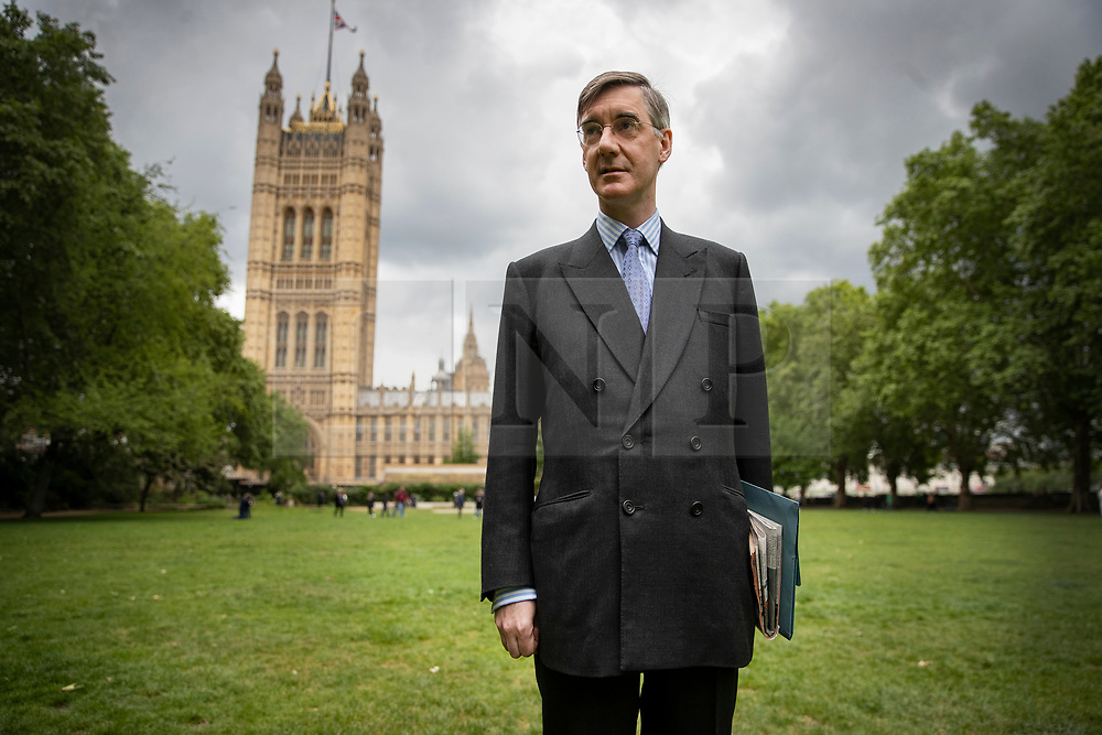 © Licensed to London News Pictures. 28/05/2019. London, UK. Conservative MP Jacob Rees Mogg, a backer of Boris Johnson for the leadership, is seen in Westminster. Ten MPs have said they intend to run for the leadership of the party after the resignation of Prime Minister Theresa May. Photo credit: Peter Macdiarmid/LNP