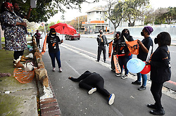 South Africa -Cape Town - 14 September 2020-  A group of sex workers who are also members of SWEAT,protesting outside the Mowbray Police station where it is alleged that one of their members died while in holding cells.This was when the group was having  Sex Worker Pride Day,celebrated sex workers' self-determination and enhanced visibility, as well as the achievements of sex worker-led organizations  .Picture:Phando Jikelo/African News Agency(ANA)