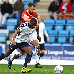 TELFORD COPYRIGHT MIKE SHERIDAN 9/3/2019 - PENALTY. Dan Udoh of AFC Telford is dragged back during the National League North fixture between AFC Telford United and FC United of Manchester (FCUM) at the New Bucks Head Stadium