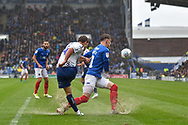 Wycombe Wanderers Midfielder, Dominic Gape (4) makes a clearance  during the EFL Sky Bet League 1 match between Portsmouth and Wycombe Wanderers at Fratton Park, Portsmouth, England on 22 September 2018.