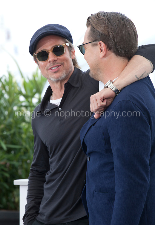 Brad Pitt and Leonardo DiCaprio at Once Upon A Time... In Holywood film photo call at the 72nd Cannes Film Festival, Wednesday 22nd May 2019, Cannes, France. Photo credit: Doreen Kennedy