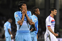 FOOTBALL - FRENCH CHAMPIONSHIP 2010/2011 - L1 - OLYMPIQUE LYONNAIS v OLYMPIQUE MARSEILLE - 8/05/2011 - PHOTO JEAN MARIE HERVIO / DPPI - DISAPPOINTMENT LUCHO GONZALEZ (OM) AT THE END OF THE MATCH