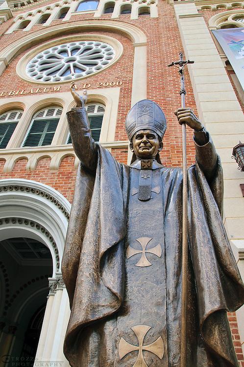 Brass statue of Pope John Paul ll  at Assumption Cathedral, Bangkok Thailand
