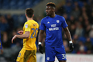 Omar Bogle of Cardiff city looks on. EFL Skybet championship match, Cardiff city v Preston North End at the Cardiff city stadium in Cardiff, South Wales on Friday 29th December 2017.<br /> pic by Andrew Orchard, Andrew Orchard sports photography.