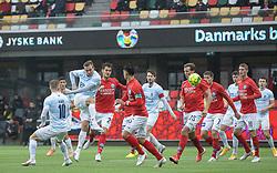 Jonas Henriksen (FC Helsingør) udligner til 1-1 under kampen i 1. Division mellem Silkeborg IF og FC Helsingør den 21. november 2020 i JYSK Park (Foto: Claus Birch).