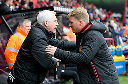 West Bromwich Albion manager Alan Pardew (left) and AFC Bournemouth manager Eddie Howe (right) during the Premier League match at the Vitality Stadium, Bournemouth.