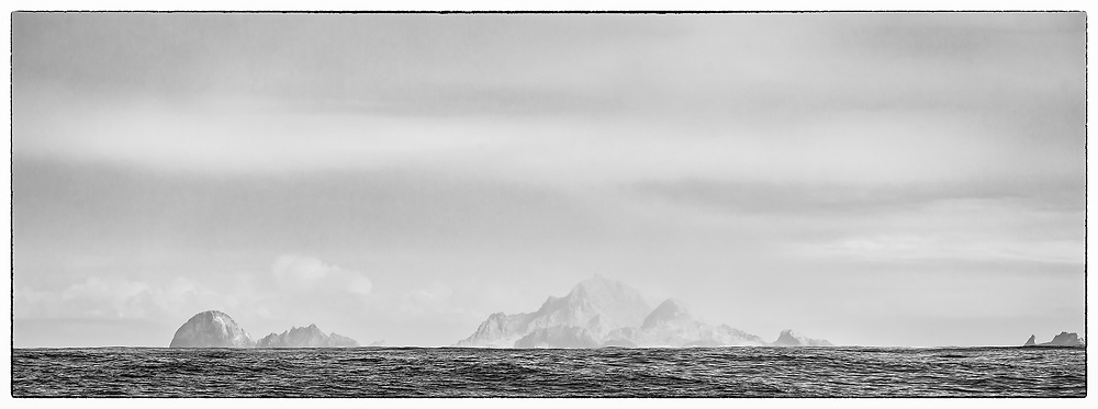 Black and white panoramic of th remote and rocky Farallone Islands