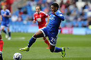 Kadeem Harris of Cardiff city in action. EFL Skybet championship match, Cardiff city v Nottingham Forest at the Cardiff City Stadium in Cardiff, South Wales on Easter Monday 17th April 2017.<br /> pic by Andrew Orchard, Andrew Orchard sports photography.