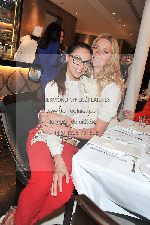 Left to right, LILLY BECKER and JODIE KIDD at a lunch to launch Cash & Rocket on Tour 2013 hosted by Julia Brangstrup in aid of Orpan Aid and Shine on Sierrra Leone held at Banca, 40 North Audley Street, London on 29th April 2013.