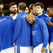 Anadolu Efes's players during their BEKO Basketball League match Anadolu Efes between Banvit at Abdi Ipekci Arena in Istanbul Turkey on Sunday 05 January 2014. Photo by TURKPIX