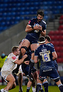 Sale Sharks lock Lood De Jager collects a high ball during a Gallagher Premiership Round 11 Rugby Union match, Friday, Feb 26, 2021, in Eccles, United Kingdom. (Steve Flynn/Image of Sport)