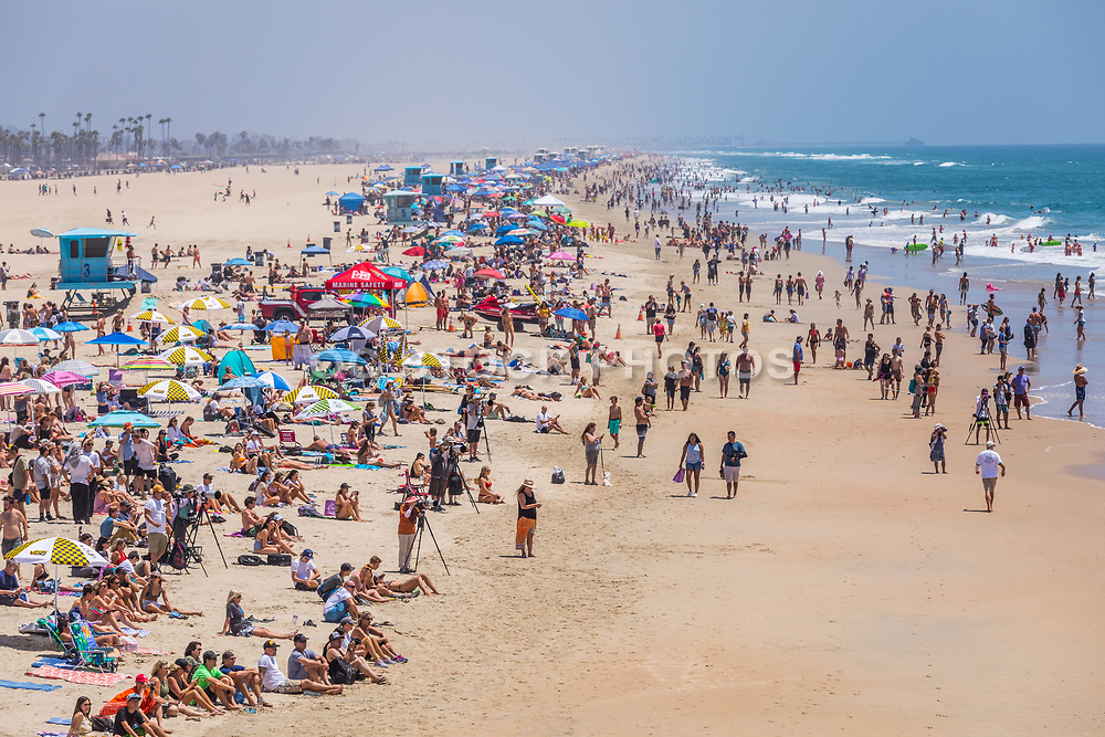 People Watching the Vans US Open of Surfing Competition in Huntington Beach