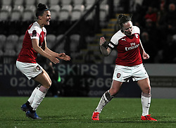 February 20, 2019 - Borehamwood, Hertfordshire, United Kingdom - Kim Little (Captain) of Arsenal and Katrine Veje of Arsenal celebration  during the FA Women's Super League football match between Arsenal Women and Yeovil Town L.F.C.at Meadow Park on February 20, 2019 in Borehamwood, England. (Credit Image: © Action Foto Sport/NurPhoto via ZUMA Press)