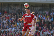 Middlesbrough defender, on loan from Chelsea, Tomas Kalas wins the header during the Sky Bet Championship match between Middlesbrough and Leeds United at the Riverside Stadium, Middlesbrough, England on 27 September 2015. Photo by Simon Davies.