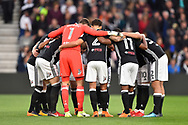 Fulham players group together during the EFL Sky Bet Championship match between Derby County and Fulham at the Pride Park, Derby, England on 11 May 2018. Picture by Jon Hobley.