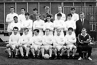 Football - 1968 / 1969 Leeds United team (back row L>R) Paul Madeley, Mike O'Grady, David Harvey, Gary Sprake, Jack Charlton, Norman Hunter, (centre L>R) Albert Johanneson,  Rod Belfitt, Mick Jones, Terry Hibbitt, Eddie Gray, Peter Lorimer, Mr. Don Revie (Manager) (front row L>R) Paul Reaney, Terry Cooper, Johnny Giles, Billy Bremner, Jimmy Greenhoff, Mick Bates, Les Cocker (Trainer) 1968/69. <br /> Credit : Colorsport