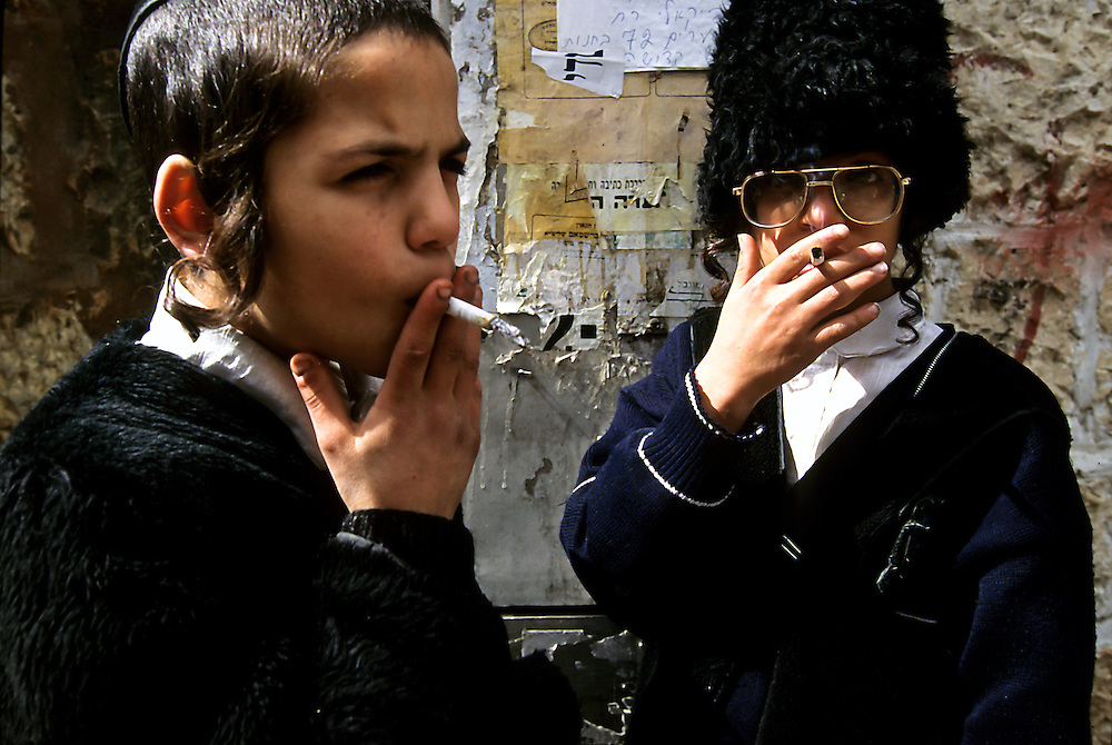 Jerusalem, Israel: Purim.  Young Hasidic boys dress up and misbehave on this special day.